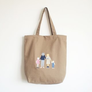 cat family tote bag : khaki