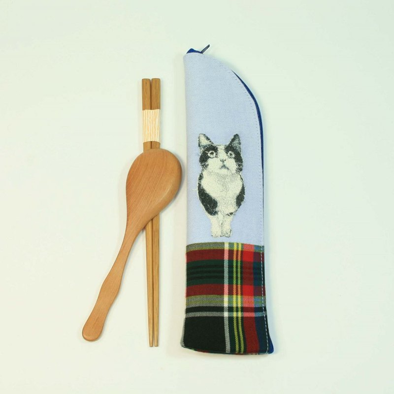 Embroidery Chopsticks Bag 05 - Cat