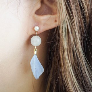 Pure white Agate with feather Non allergic  earrings