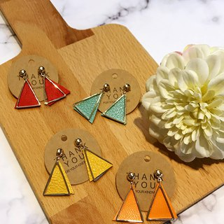 Triangle bell leather pin earrings