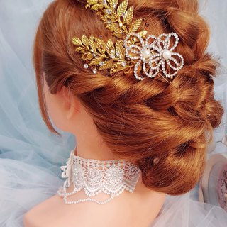 European gold leaf rhinestone flower bridal tiara ornament