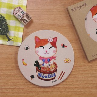 ChinChin hand-painted ceramic cat water coaster - Japanese noodles