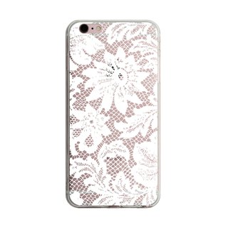 White Large Lace Transparent iPhone X 8 7 6s Plus 5s Samsung S7 S8 S9 Mobile Shell
