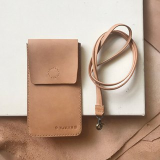 Mobile phone case _ bag cover single card layer _ with neck strap _iPhone8Plus_ light brown take the original leather