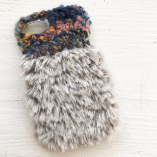 iPhone case  fake fur blue and glay