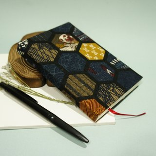 Cloth - hand-cloth laptop - line can be opened - dark blue hexagonal Japanese totem (S small)