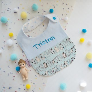 """Togetherness""Handmade Name Embroidery Baby Bib - Standing Animals"