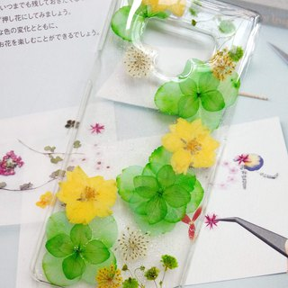 Pressed flowers phone case, Samsung Galaxy Note 9, Green