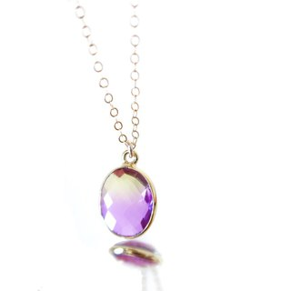 14KGF/ YELLOW PURPLE GRADATION CRYSTAL NECKLACE