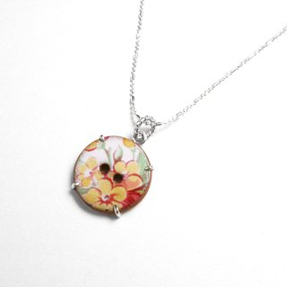 Limited - British flora ceramic button & sterling silver necklace