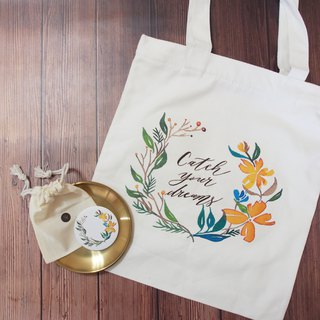 Goody Bag - Mstandforc Western Calligraphy Wreath Bag x Hot Gold Small Round Mirror x Small Badge
