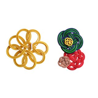 "Mizuhiki Pierced earrings ""clover and flower"" -Yellow×Navy-"
