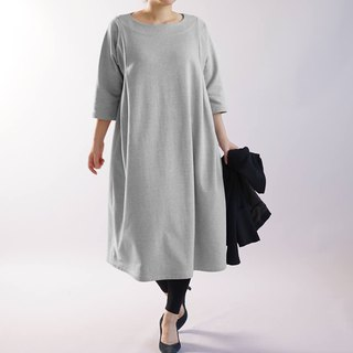 wafu  cotton dress / midi length / 3/4 sleeve / oversize / gray a83-2