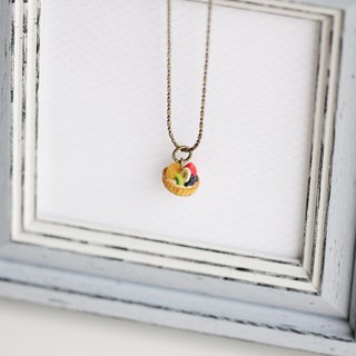 Miniature French classic dessert fruit tart Necklace Short chain