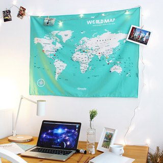 Personalized World Map, Pin Map Travel Map-Lake Green-Wall Decor (Fabric)