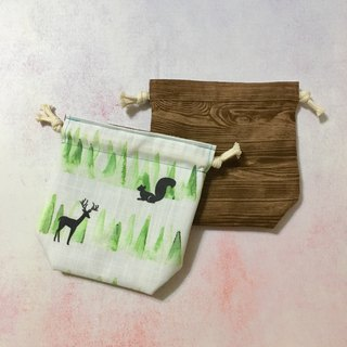 Squirrel walking with deer in the forest - double-sided storage beam pocket - small