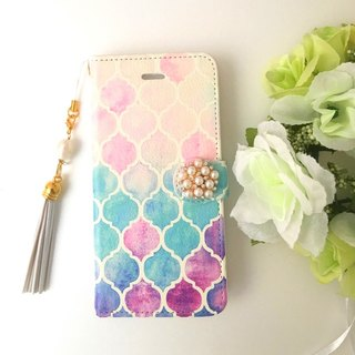 【Pajour】 (watercolor paint) Moroccan handle hand book type smart case 【iPhone】 【notebook】 【Moroccan pattern】