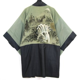 Back to Green Japan brought back a male knit hand-painted forest waterfall vintage kimono