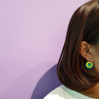 Circle ring circle series - concentric circle (Terry) ear pin / ear clip handmade earrings Korea direct