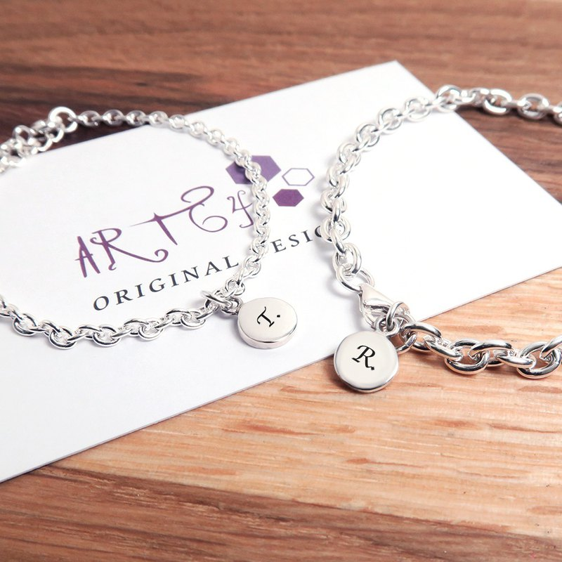 Circle round couple bracelet (classic + wide version of the chain) sterling silver custom made bracelet