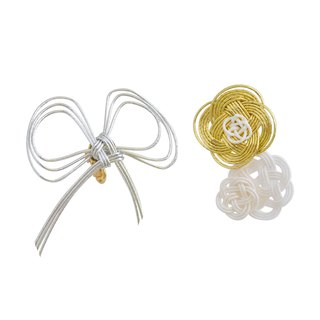 "Mizuhiki Pierced earrings ""Ribbon and flower"" -Silver×Gold-"