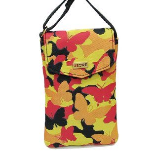 Psychedelic butterflies texture painting yellow and black jacquard cell phone pocket -REORE