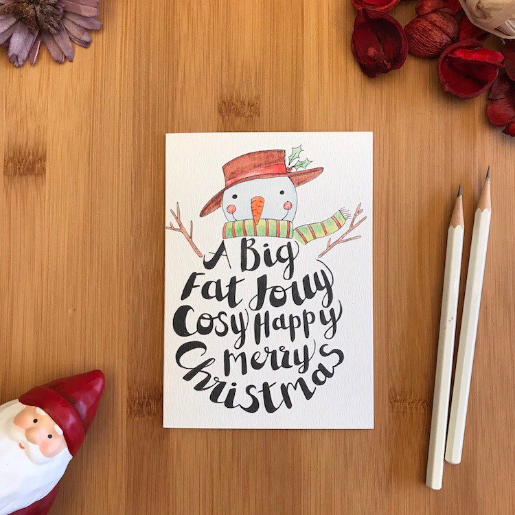 BIG FAT CHRISTMAS Christmas card hand-painted illustration of environmentally friendly paper imported cards C115