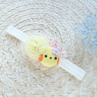 Baby Headband - handmade yellow chick elastic baby hairdband