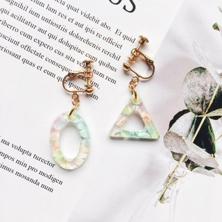 La Don - Geometric Triangle Ellipse - tender ear point ear clip / ear clip
