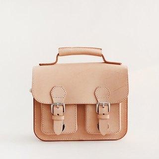 Vegetable tanned leather first layer retro British small double shoulder ladies Messenger bag men