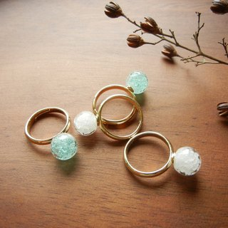 *Coucoubird*ice diamond ring / white. Blue and green
