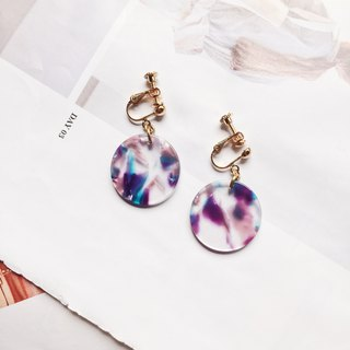 La Don - Large Round Transparent Color Purple Ear Pins