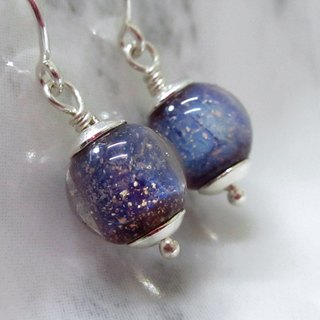 × | Small universe series | × 925 sterling silver U-shaped ear hook small purple planet glass earrings (a pair)