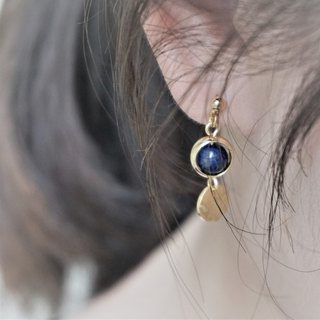 << Blue Water Ripple - Lapis Lazuli >> Natural Stone Dangle Earrings (can be changed ear clip)