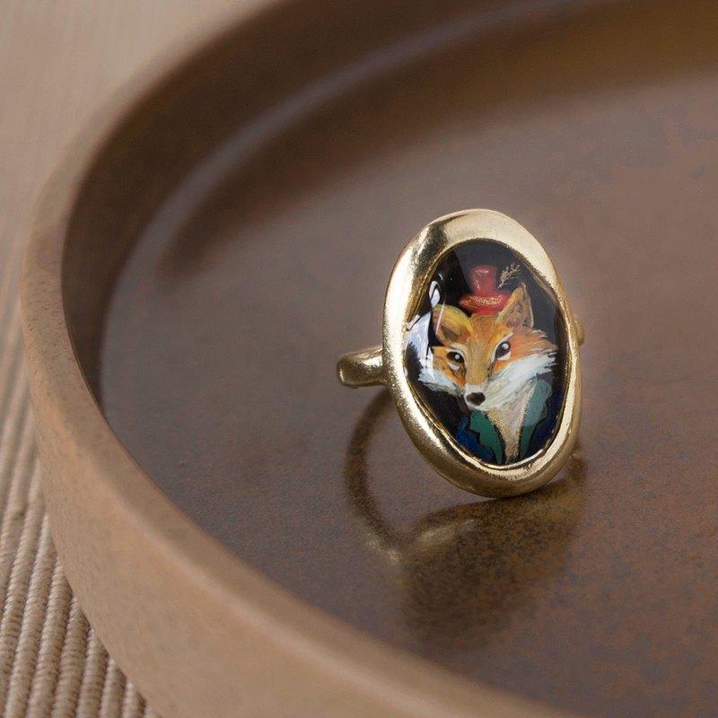 狐狸先生戒指-客製化戒指 寵物肖像畫戒指 寵物客製化飾品