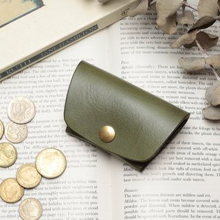 Minimal morning tree green hand dyed yak leather handmade coin purse