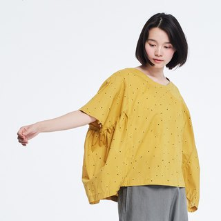 Swing Gathering Sleeve  Relaxed Cotton Polka dotted Top /Yellow