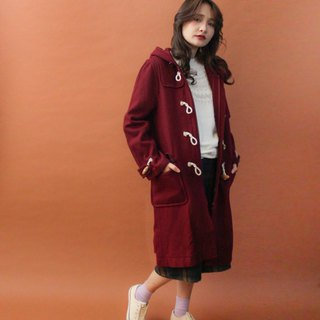 Retro autumn and winter college wind hooded dark red zipper vintage horn buckle coat coat