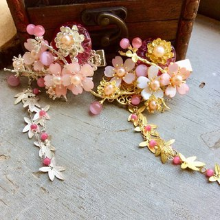 喵Handmade ~ Vintage Totem Handmade Glass Locker Sakura Hairpin (Powder/Gold/Silver)