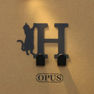 [OPUS Dong Qi Metalworking] When the cat met the letter H - Hook (Black) / Wall hanging hook / House rack / Life storage / Hanger / Modeling hook / Traceless / HO-ca10-H (B)