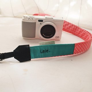 Hairmo contrast color stitching camera belt - blue green + rose red dot (general hole. double small hole. single hole)