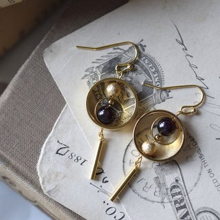18k GP Little Planet Garnet Earrings / Clips-on Earrings
