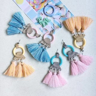 earrings : ring tassel pastel