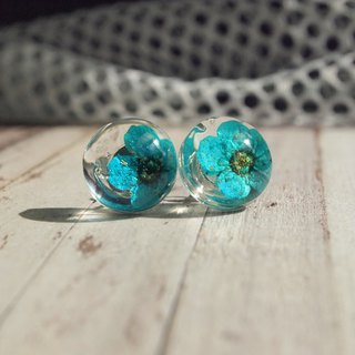 Resin Earrings with real flowers, Blue Pressed Flower Earrings
