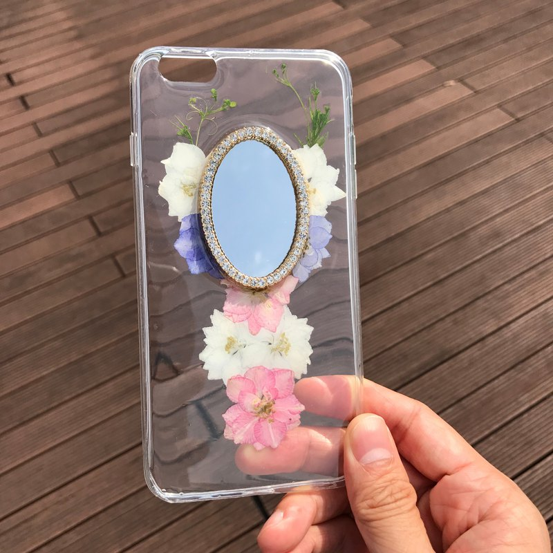 iPhone 6S Plus Dry Pressed Flowers Case Mirror crystal case FMR 003