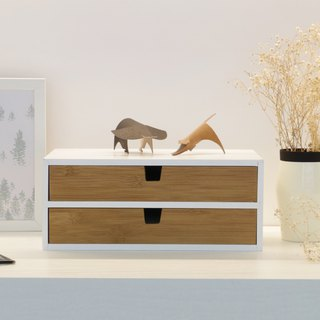 Double-layer two-piece bamboo and wooden drawer box (1+1)