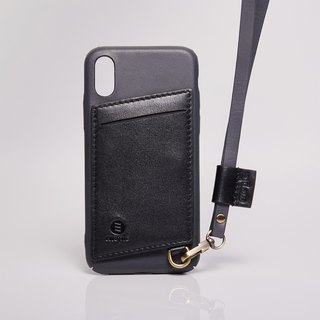 "【New】 Manhattan X Daytona - Dark Gray / Black ‧ iPhone X ‧ 5.8 ""‧ Oil wax leather"