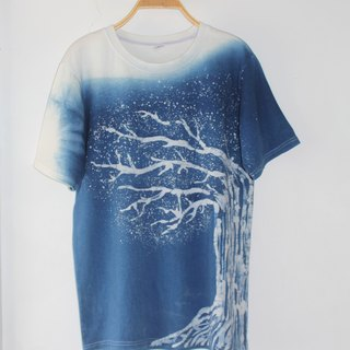 Free dyeing isvara handmade blue dye symbiotic series tree cotton T-shirt