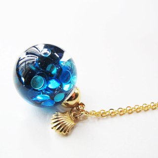 *Rosy Garden* blue mermaid glitter with water inisde glass ball necklace