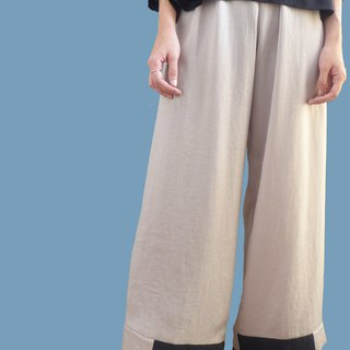 Silky gloss floor wide pants - snow silver
